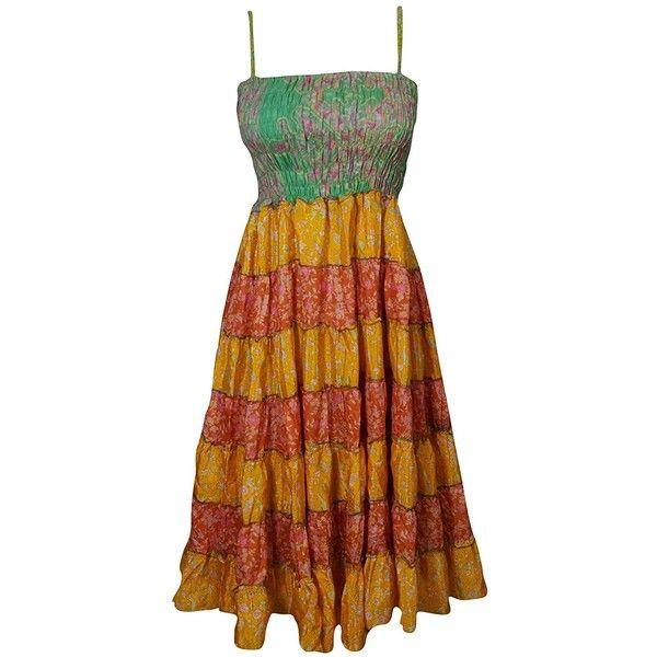 Mogul Womens Sundress Recycled Sari Patchwork Maxi Dress Wholesale Lot... ($85) ❤ liked on Polyvore featuring dresses, maxi sundresses, brown dresses, brown maxi dress, maxi dresses and patchwork dresses