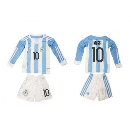 Argentina Trøje Børn 2016 Lionel #Messi 10 Hjemmebanetrøje Lange ærmer,222,01KR,shirtshopservice@gmail.com
