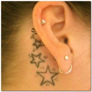 Star tattoos behind earsTattoo Placements, Tattoo Ideas, Stars Tattoo, Ears Tattoo, Small Tattoo, Tattoo Design, Ears Piercing, Little Tattoo, Tattoo Ink