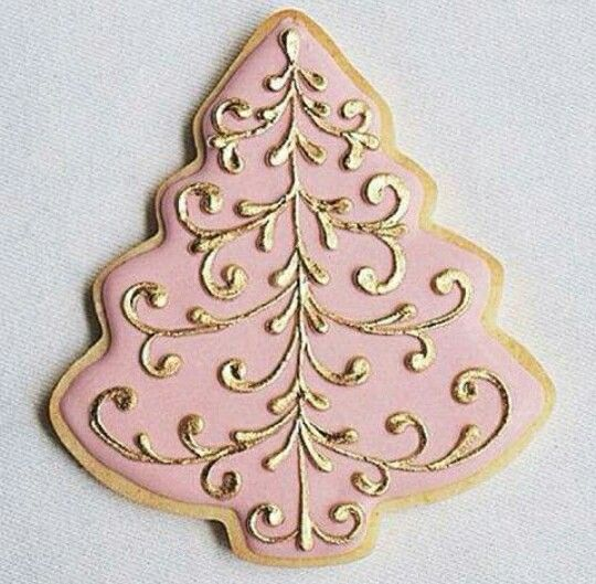 Pink and gold Christmas tree cookie