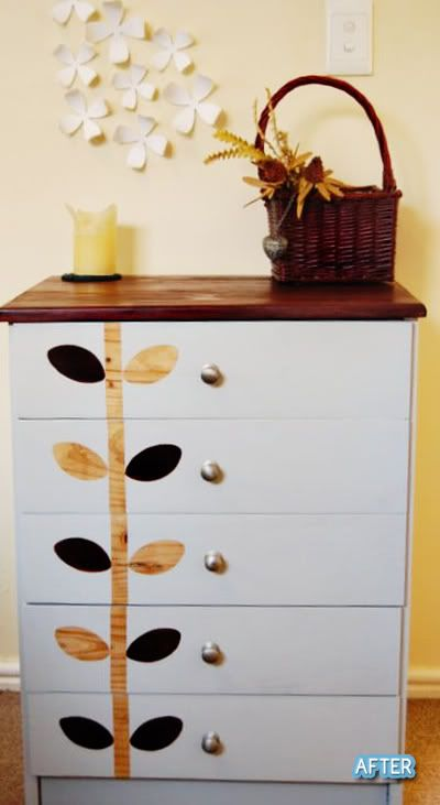 Love the idea of leaving the bare wood to show through on this refinished dresser Love ...love this!