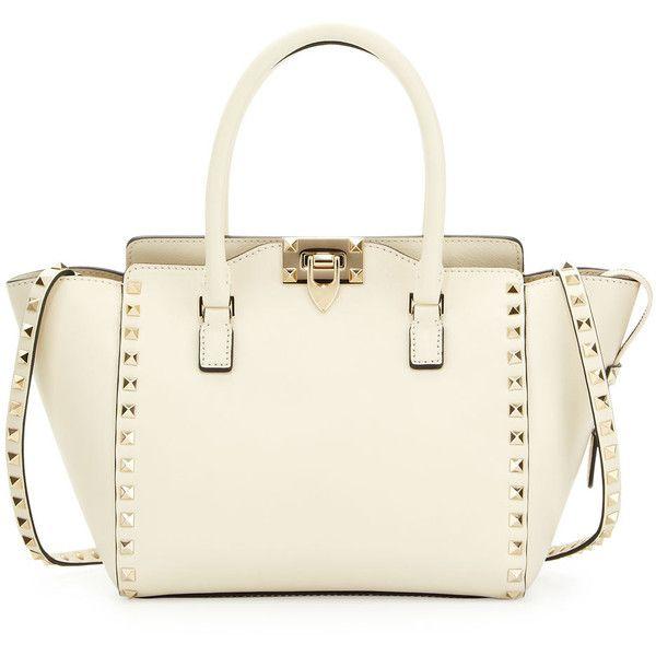 Valentino Rockstud Small Shopper Tote Bag, Ivory found on Polyvore