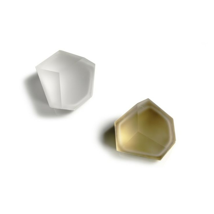 Andrea Walsh, Two tiny faceted boxes, 2012 - fine bone china and 22ct burnished gold with clear glass