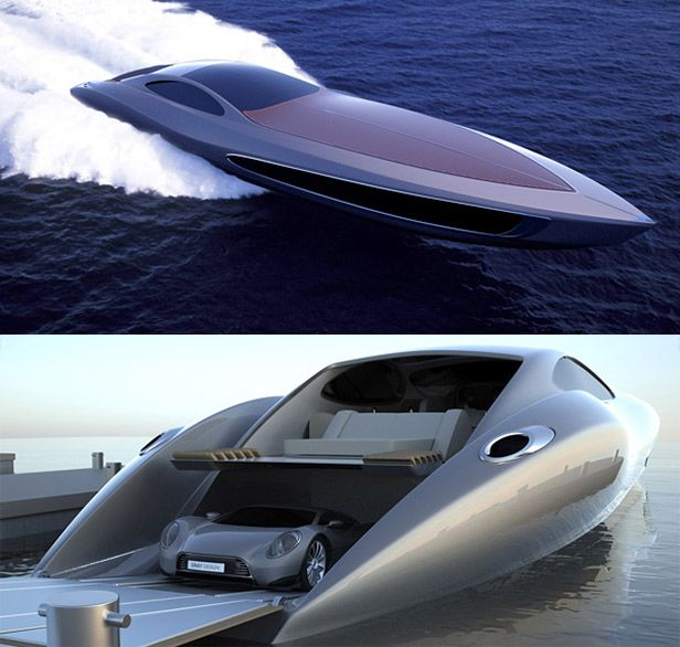 Super Yacht with a Car Inside    Why settle for a single mode of transportation when you can have two in one with this 124-foot high-performance yacht designed by Eduard Gray? If you get tired of tooling around at high speed in the water, back it up to a dock and peel out in your twin-turbo 880hp exotic car with a top speed of 230 mph. Not enough for you? Jet helicopter not included.