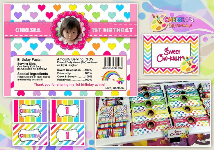 1st Birthday Party (Art Rainbow Party Theme)  Personalized Chooco Bar Wrapper