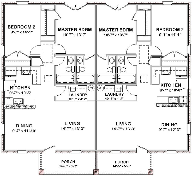 Wonderful Split House Plans Amusing Split House Plans: Duplex House Plans Full Floor Plan 2 Bed + 2 Bath