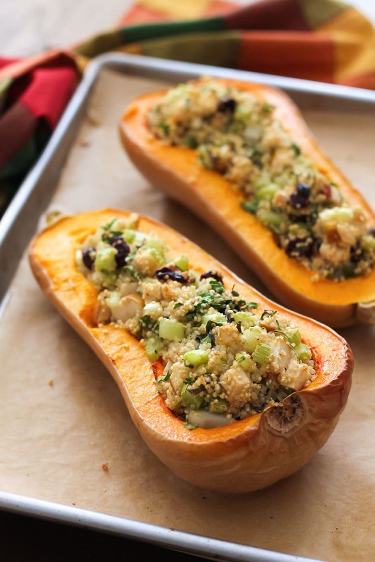 Impress guests with this dish that's incredibly easy to prepare. #quinoa #squash #recipe http://greatist.com/eat/recipes/twice-baked-quinoa-stuffed-butternut-squash