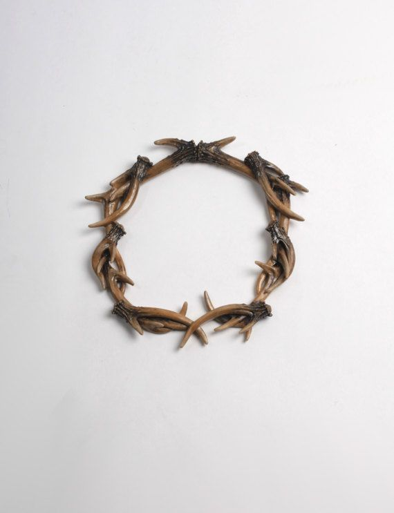 Faux Deer Antlers Wreath in Natural - Deer Antler Decor Wall Decor - Rustic Resin Decor by White Faux Taxidermy Antler Wreath Sculpture