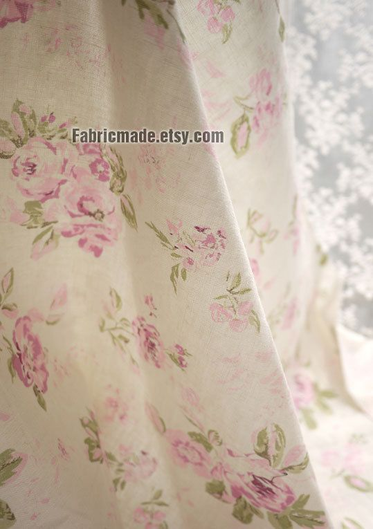 Shabby Chic Linen Cotton Fabric Upholstery Pink Grey Camellia Flower On Off White Yard