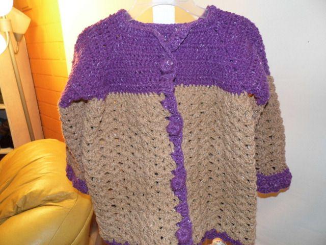 chaleco niña, tejido a crochet en lana rustica