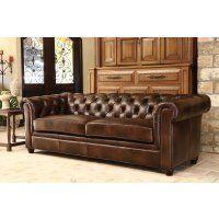 Jameson Premium Italian Leather Sofa - Two Tone Chesnut Brown