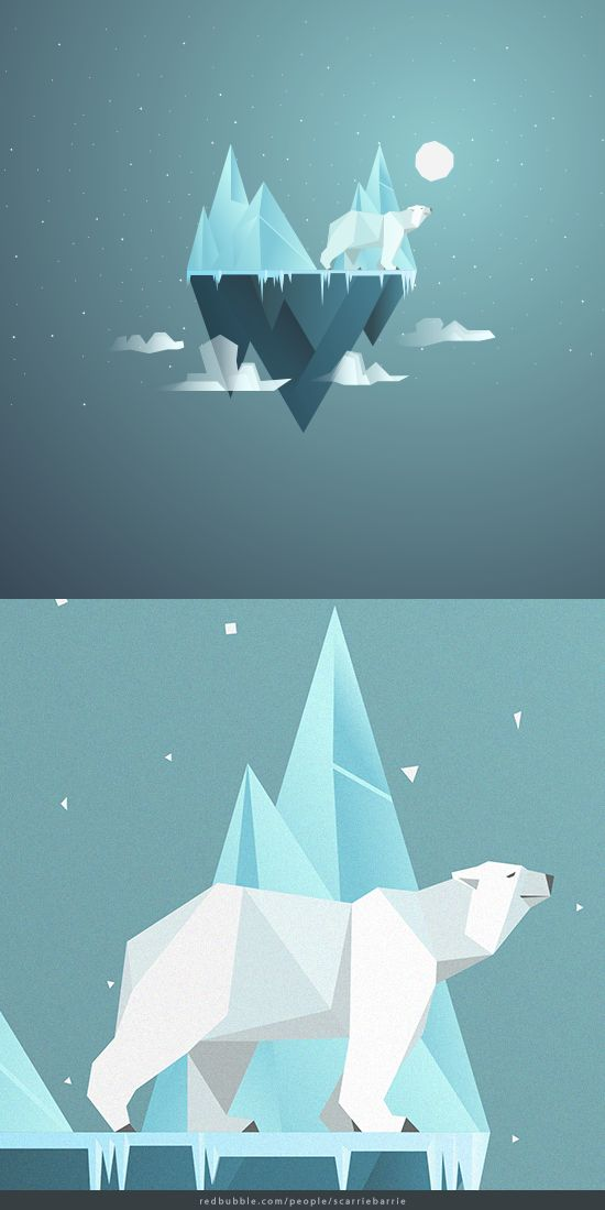 Low Poly Polar Bear floating on an icy island  by Scarriebarrie. Merchandise available Redbubble.com/people/scarriebarrie