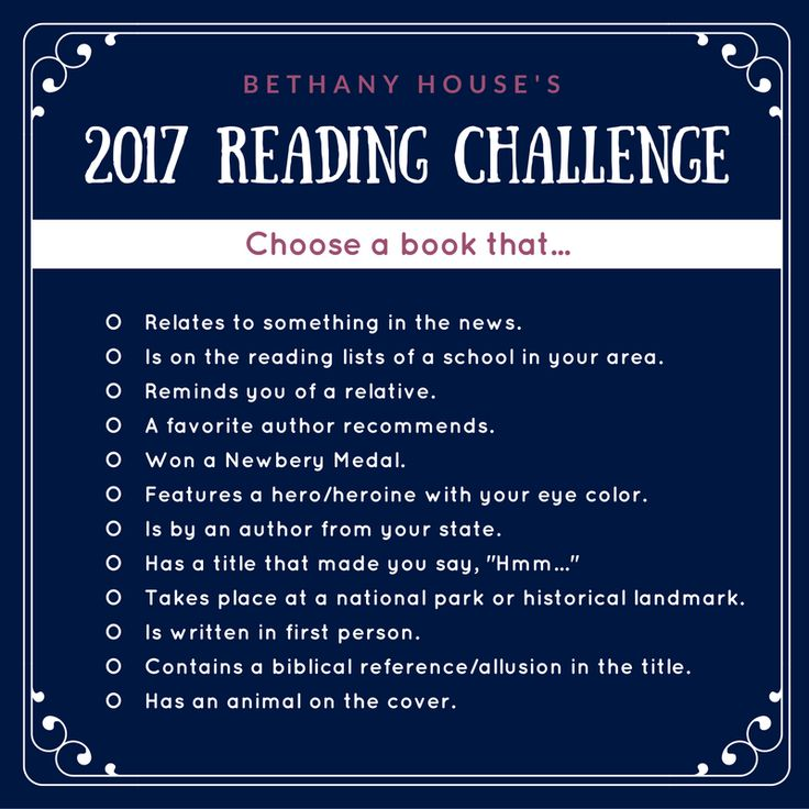 A Reading Challenge for 2017!  Bethany House is inviting readers to read books that meet each of these criteria and to recommend books they've read to other readers, too.  Swing by their blog and suggest some of your favorites! #2017 #reading #challenge