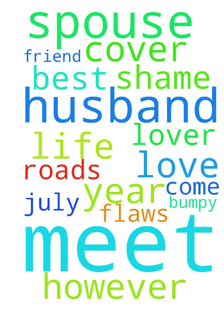 I will meet my spouse, my husband -  Dear father God, This year had a few bumpy roads, however I just pray in Jesus name that in July 2017. I will meet my spouse, my husband, my best friend and lover. I pray he will come to my life and cover my shame and love flaws and all.  Posted at: https://prayerrequest.com/t/LCe #pray #prayer #request #prayerrequest