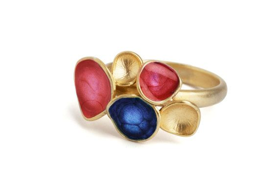 Blue and red ring enamel jewelry statement ring by oBoCreations