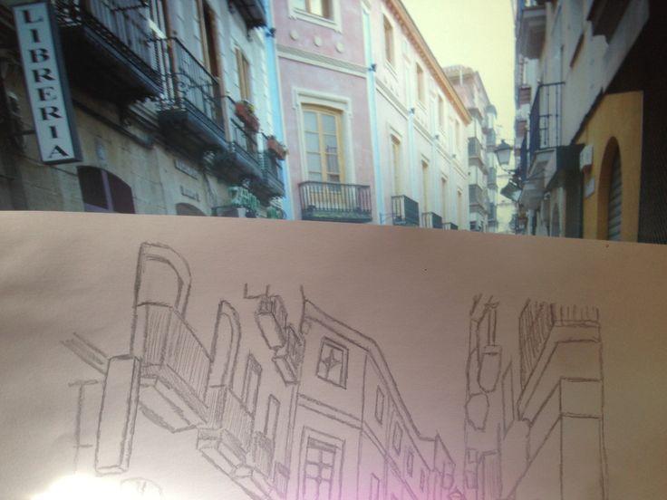 esta es una imagen del trabajo que consistía en realizar un boceto urbano de una calle de tu ciudad,en este caso se encuentra la imagen de mi ciudad junto con el diseño terminado.