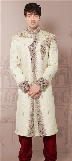500038, Sherwani, Jacquard, Machine Embroidery, Sequence, Resham, Stone, Border, White and Off White Color Family