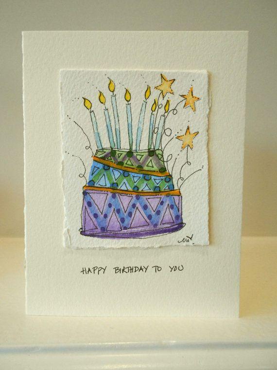 Birthday Card Original Watercolors Blue by betrueoriginalart