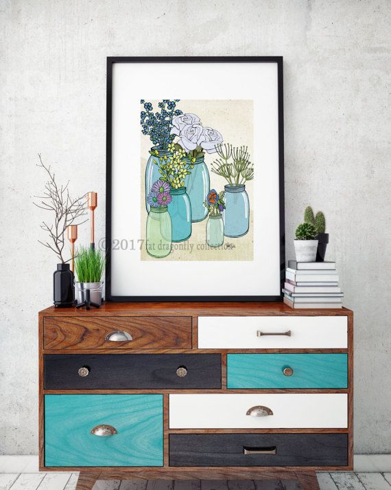 Artist Shanni Welsh's Kerr jar and flower bouquet print. Botanical flower Poster.