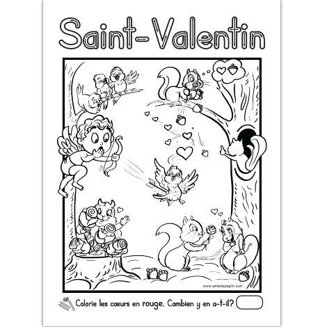 Fichier PDF téléchargeable Format: 8,5 X 11 po. En noir et blanc seulement L'enfant colorie les coeurs en rouge. S'il sait écrire et compter, il inscrit combien il y en a. Le dessin contient 11 coeurs si la pointe de la flèche est comptée.