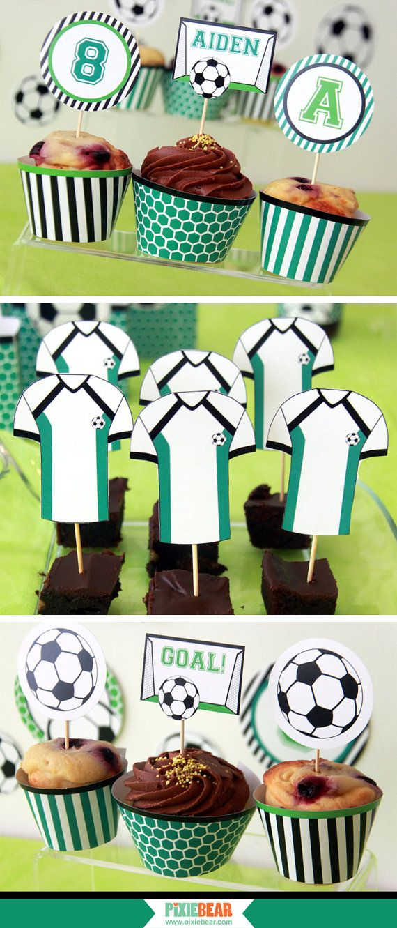 Soccer Party Toppers Soccer Cupcake Topper by PixieBearParty