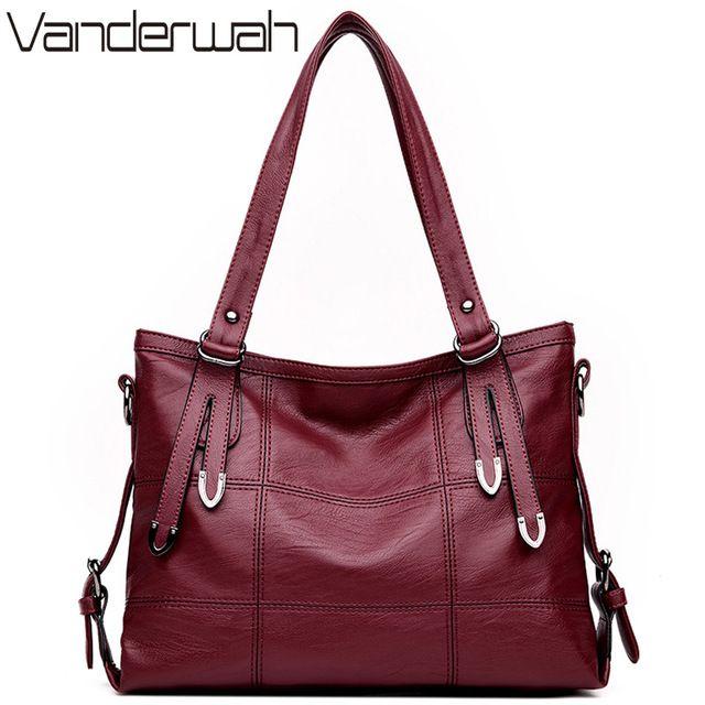 Great Deal $19.20, Buy HOT Lady Top-handle bags leather luxury handbags women bags designer Stitching casual Women messenger Big shoulder bag Tote SAC