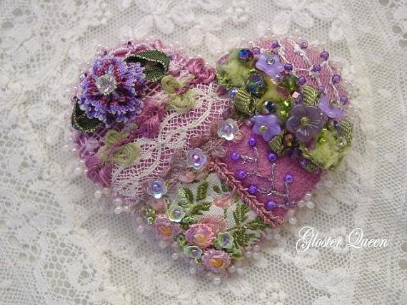 Crazy quilt heart pin with vintage trims by GlosterQueen on Etsy, $37.00
