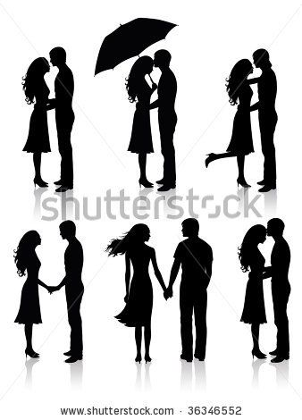 stock vector : Different silhouettes of couples.