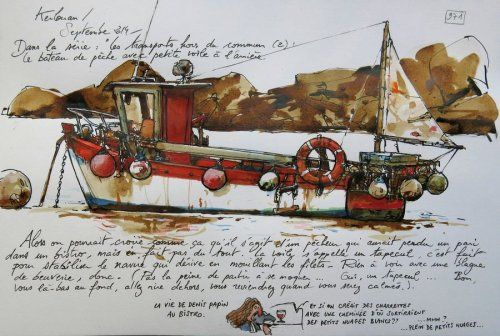 Une Bretagne par les Contours / Kerlouan, Le blog de yal // But who is YAL? Yann Lesacher is watercolourist, portraitist, painter, caricaturist and bon vivant. He has a penchant for some humorous drawings ... and for all short drawing. He likes to walk on the GR 34 (walking path that skirts the entire coast of Britain). It has the bright idea to reference in its way, the landscapes, the people and things encountered at random and all seasons.