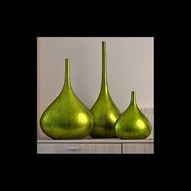 Lack Vasen Terzine 3er Set in Grün