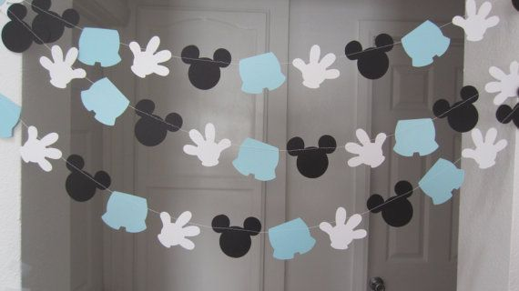 mickey mouse inspired paper garland banner by ForAHappyDay on Etsy  perfect for baby shower or first birthday