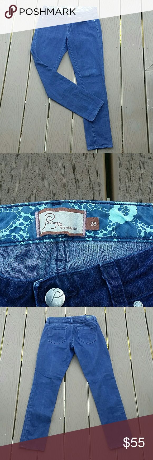 """Paige skyline ankle peg jeans - size 28 Paige jeans in a dark wash. Skyline skinny peg. Size 28. 5 pocket. Excellent condition, no flaws or stains. Inseam measures 35"""" rise measures 8.5"""". Paige Jeans Jeans Skinny"""