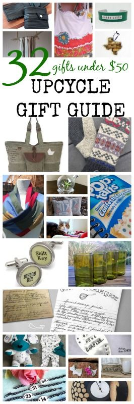Upcycle Gift Guide, 32 repurposed / upcycled gifts under $50. Gifts fro everyone on your Christmas list. Support a maker - shop small all while helping an item to get new life. Jewelry, drinking glasses, cufflinks, purses, scarves, wallets, ornaments, and more. Gifts for kids, men, and women. Reuse never looked so good. Eco Friendly gifts. #upcycle #giftguide