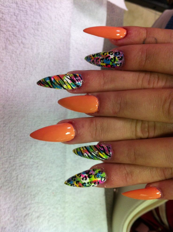 11 best nail designs images on pinterest beauty nail designs stiletto nails in a deep peach tone with designs done in a white background with various color splatters and black cheetah and zebra variations prinsesfo Image collections