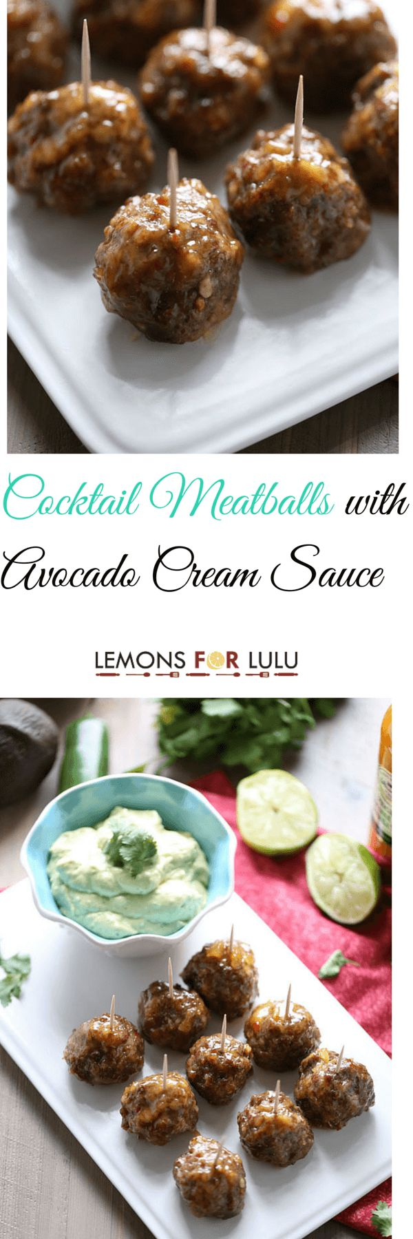 Sweet and savory meatball recipes with a unique blend of flavors in the cocktail sauce and the avocado dipping sauce that is served along side! These meatballs are terrific party food, but would make an excellent quick meal as well! lemonsforlulu.com ~ http://www.lemonsforlulu.com