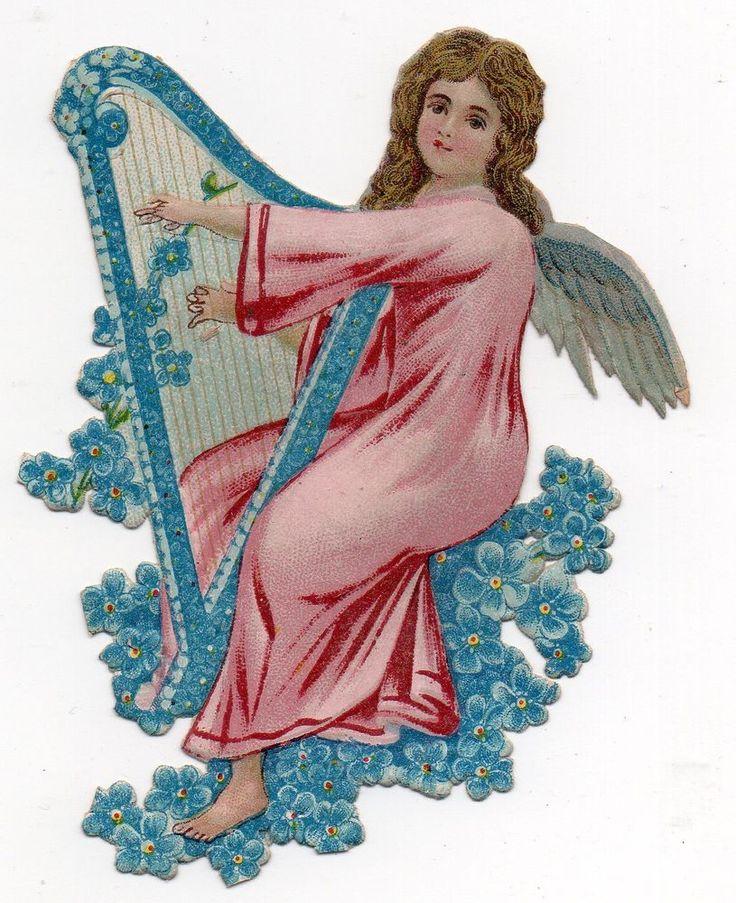 Chromo découpi oblaten glanzbild victorian die cut scrap Ange angel engel 10cm