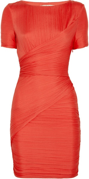 Halston Heritage Ruched Jersey Dress - Lyst