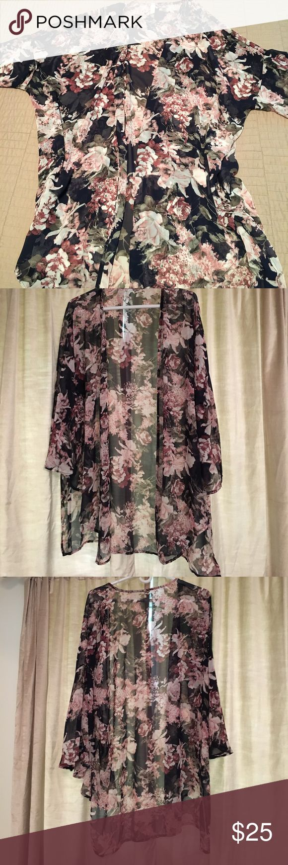 Maternity Kimono This has been worn only once! The perfect layering top that can be dressed up or worn casually. The floral chiffon bell sleeve kimono can be paired with jeans and heels for a night out or with leggings for running errands. This flowy top is great for all seasons! Pinkblush Tops Blouses