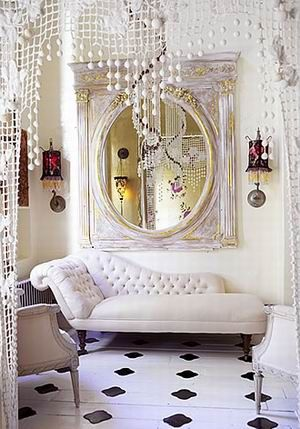 lovely: Decor, Chai Lounges, Mirror, Crochet Curtains, Chaise Lounges, Interiors Design, Dreams House, White Rooms, Beads Curtains