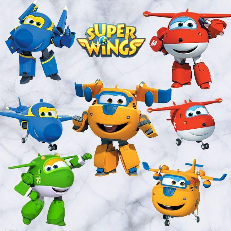 Alas de dibujos animados de Super Avión Deformación Robot bebé decoración del hogar del animado poster Tatuaje de pared Arte del juego de papel de pared del cuarto de niños de los niños