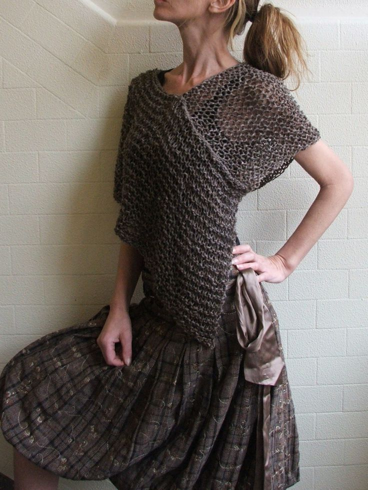 Knitting Poncho With Two Rectangles : Ileaiye possibly could be made from cut up old sweaters