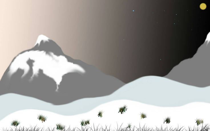 Photoshop Print Painting - Winter is Nigh - Everything Done in Photoshop C5 - Beautiful Snowcapped Peaks - Winter Scenery - Unique Painting by JayyNandezz on Etsy
