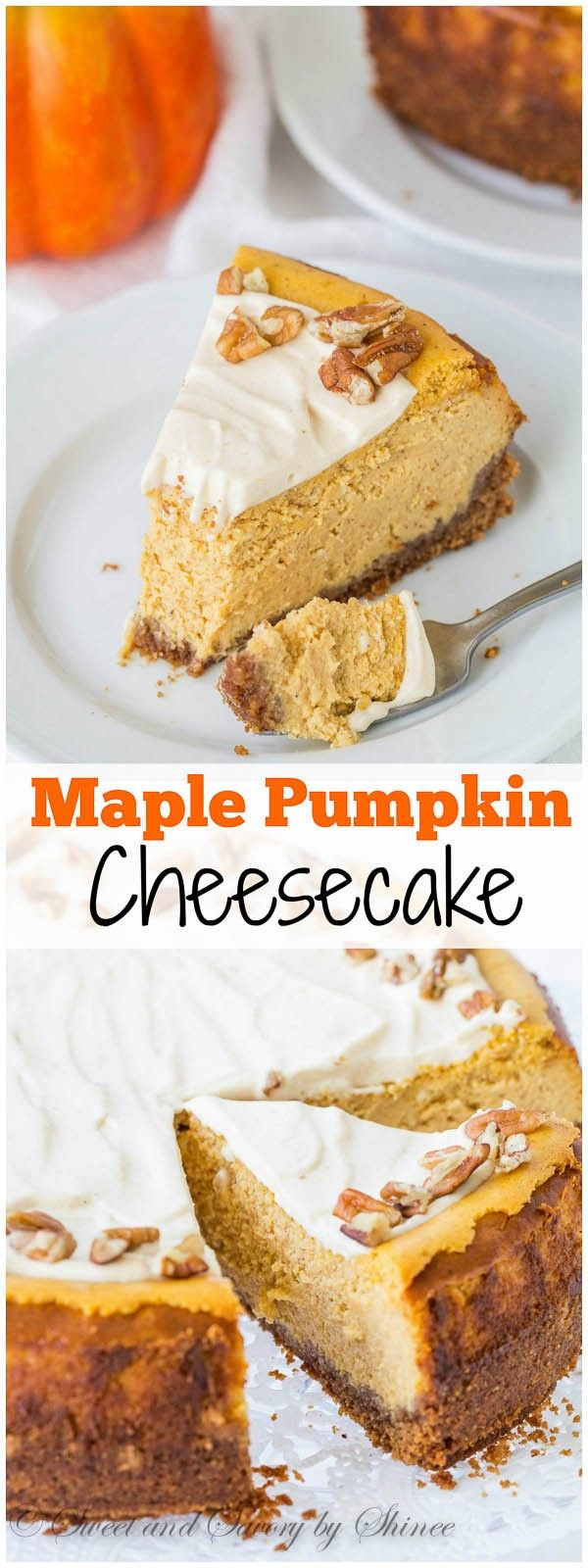 Irresistibly creamy pumpkin cheesecake, sweetened with maple syrup and smeared with maple pumpkin whipped cream frosting. It's your next favorite fall dessert!