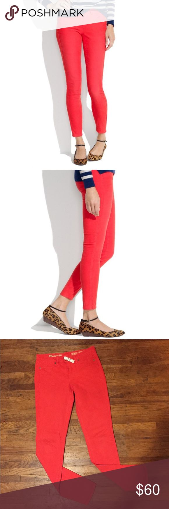 MADEWELL Bright Red Skinny Skinny Color Pants 26 Brand new with tags MADEWELL Orange Red Skinny Skinny Pants in size 26. Inseam 32. Madewell Pants Skinny