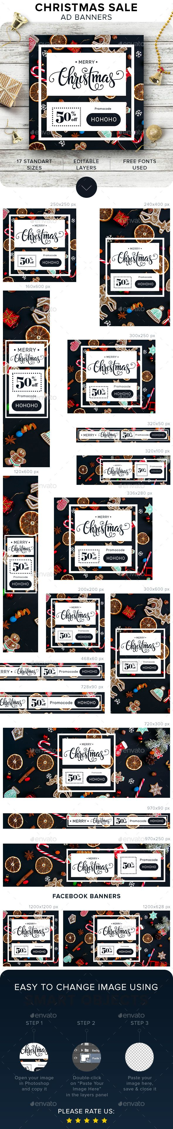 Merry Christmas Banners, web design template for ad banners Google AdWords