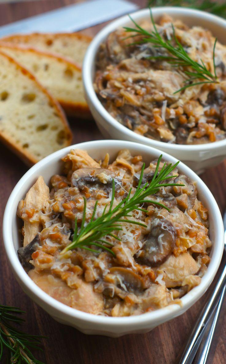 Slow-Cooker Chicken and Mushroom Farro Risotto