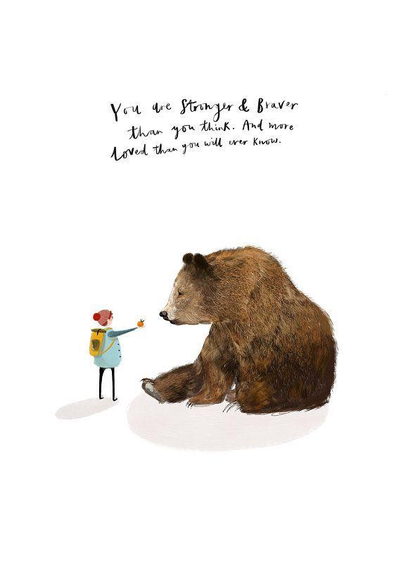 Strong and Brave Inspirational Art Print – Motivational Wall Art, Home Decor, Encouragement Gift, Children's Wall Art, Inspirational Print