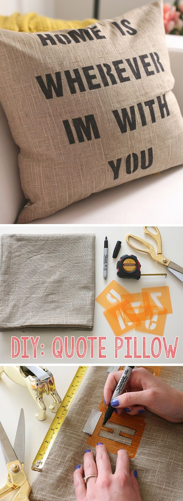 Check out this easy idea on how to make a #DIY quote pillow cover #homedecor on a #budget #crafts #project @istandarddesign