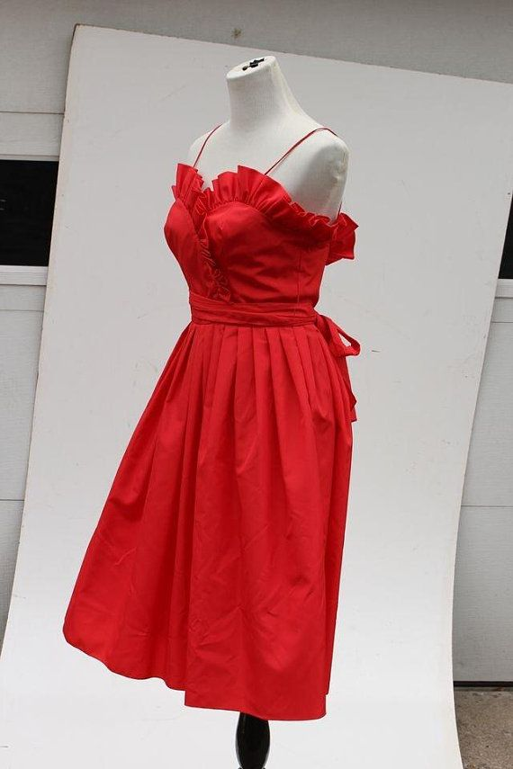 Vintage Red Satin Betty Boop Dancing Emoji Dress Size 0 2 Costume Ruffle Flounce Dresses Vintage Outfits Red Satin