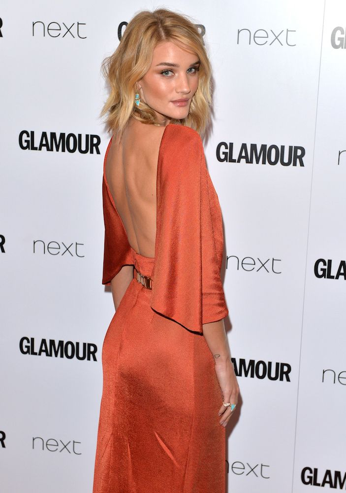 Rosie Huntington-Whiteley in Cushnie et Ochs Fall 2015 'Aphrodite' dress, Brian Atwood Spring 2014 'Tamara' sandals, Saint Laurent 'Cassandre' clutch and Jennifer Meyer jewelry – 2015 Glamour Woman of the Year Awards @glamourmag
